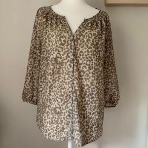 LOFT Leopard Print Peasant Blouse Size S